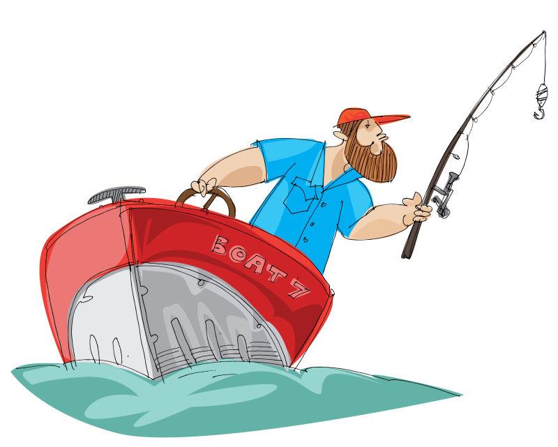 矢量手绘钓鱼的渔夫插图设计
