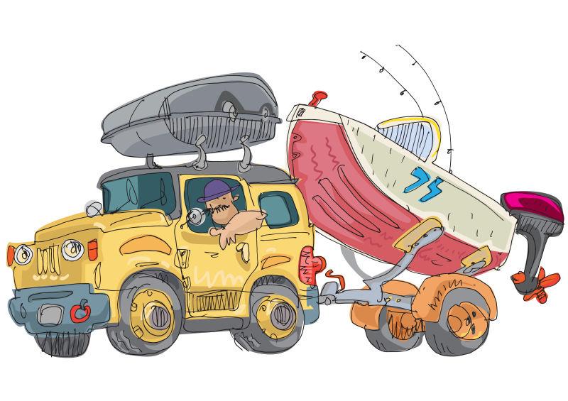 创意矢量手绘运送船的人插图设计