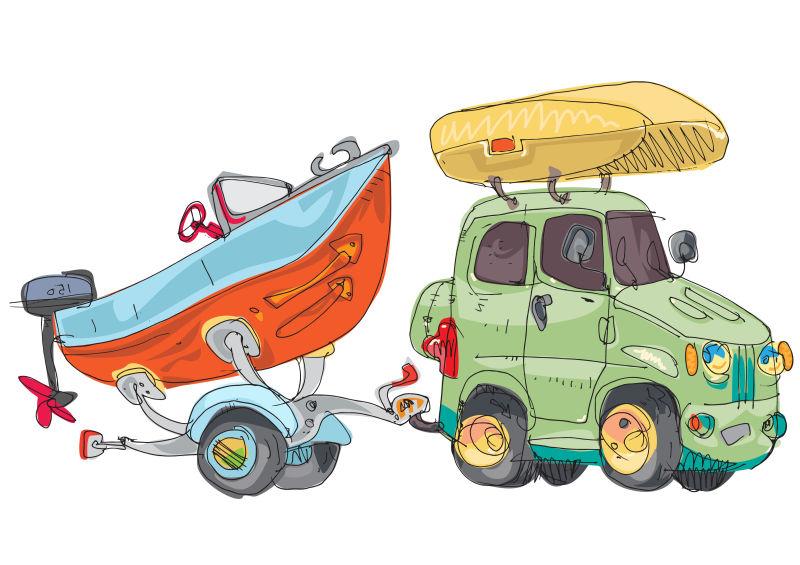 创意矢量手绘船只插图