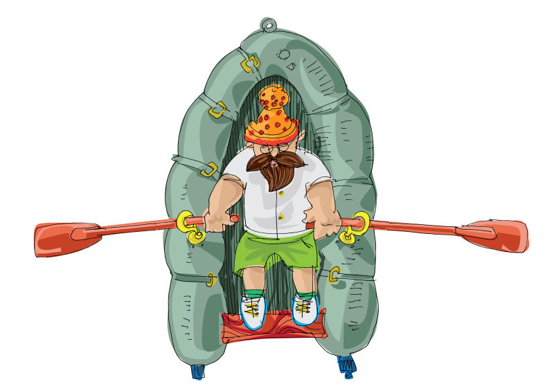 创意矢量快乐出海的渔夫插图设计