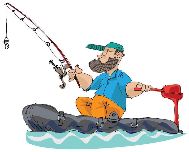 抽象矢量手绘钓鱼的渔夫插图设计