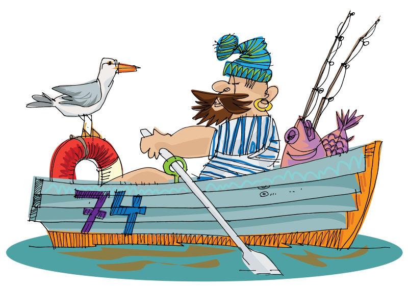 抽象矢量现代手绘渔夫复古插图设计