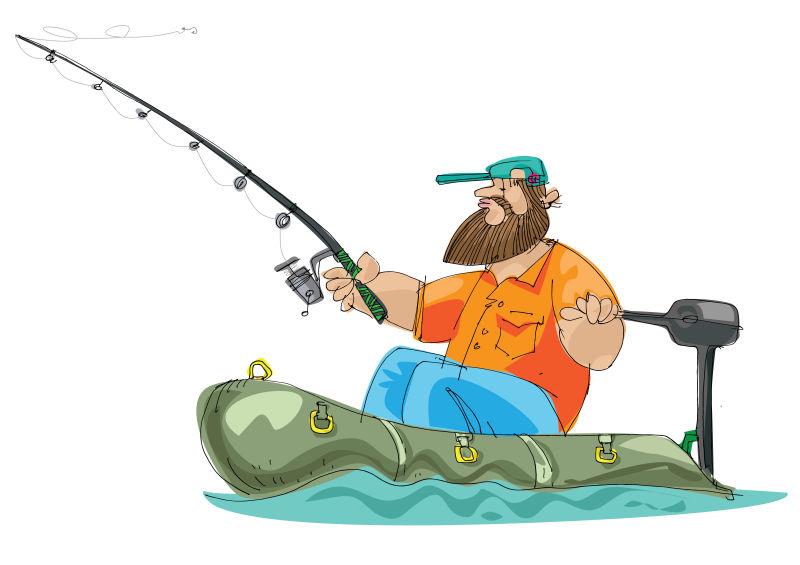 抽象矢量现代钓鱼的渔夫手绘插图