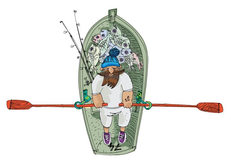 抽象矢量手绘划船的渔夫插图设计