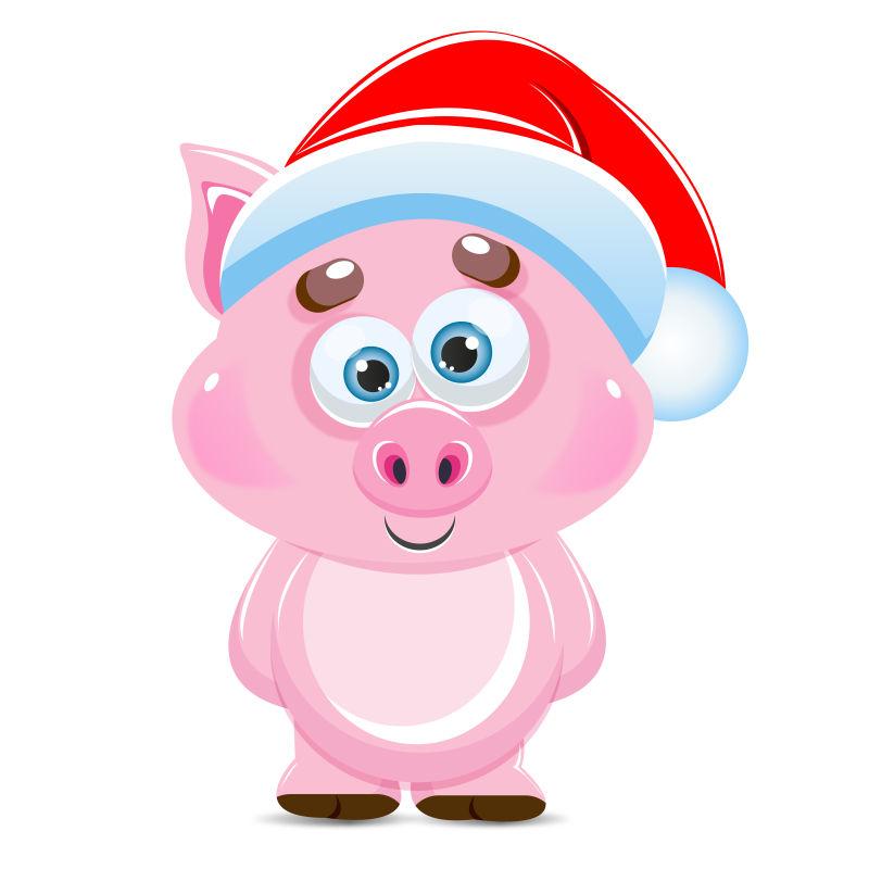 矢量戴着圣诞帽的卡通猪