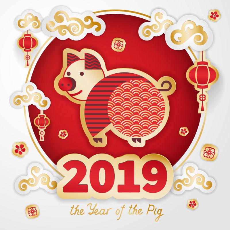 矢量2019可爱猪新年设计
