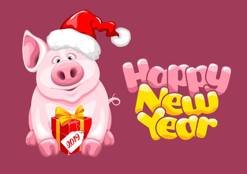 矢量可爱卡通猪新年设计