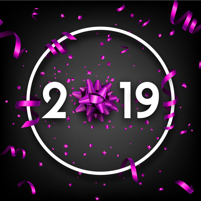 矢量黑色的2019新年设计