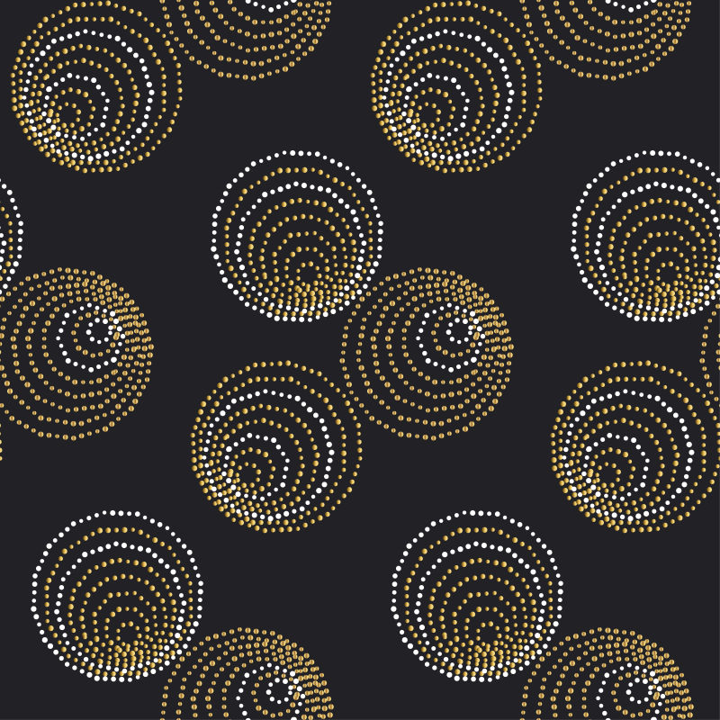 概念无缝豪华模式与点和线的头,卡,背景,邀请。装饰风格的点矢量插图黑色背景。