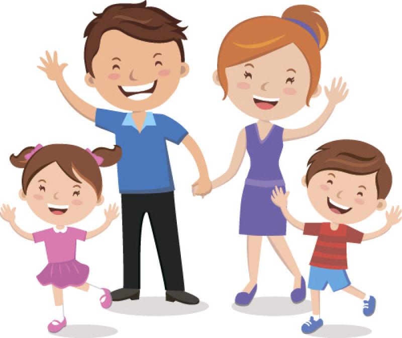 抽象矢量卡通幸福的家庭插图