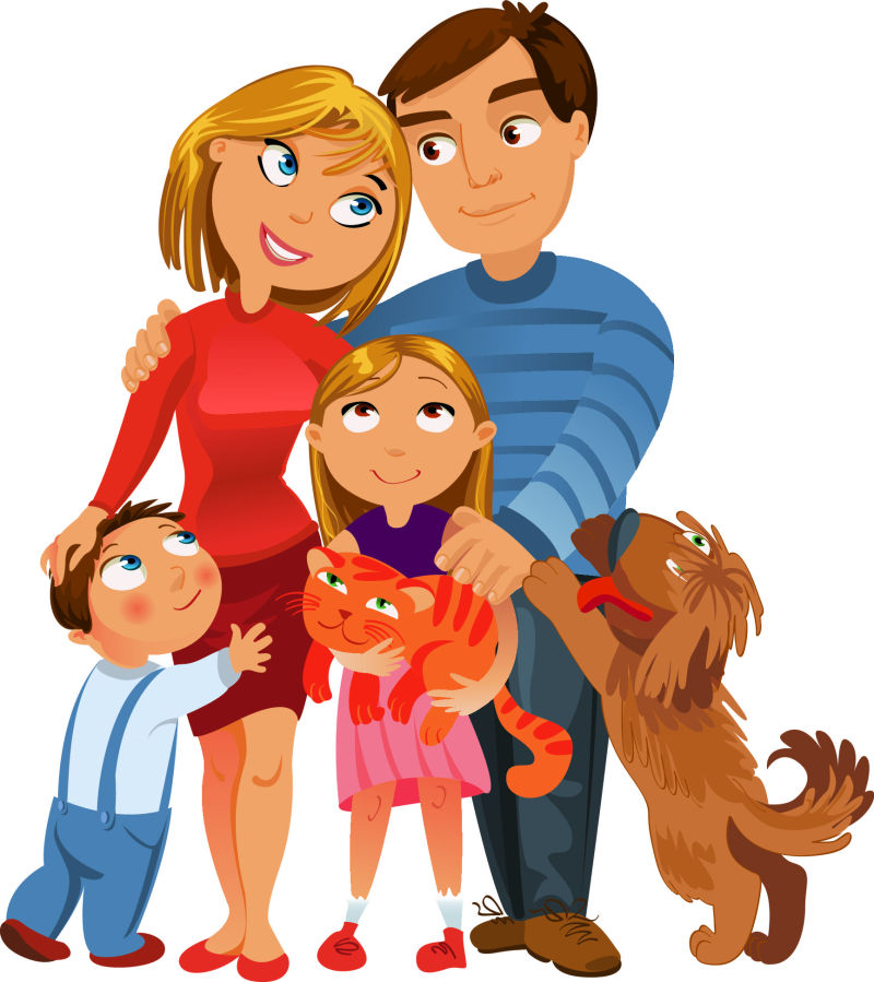 抽象矢量现代卡通幸福的一家人插图