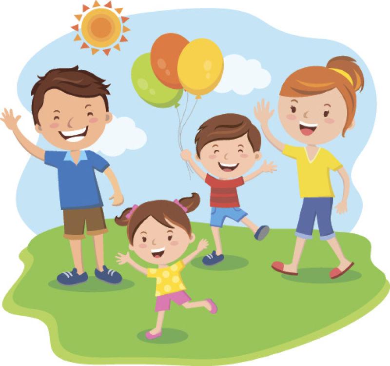 抽象矢量现代卡通幸福的家庭平面插图