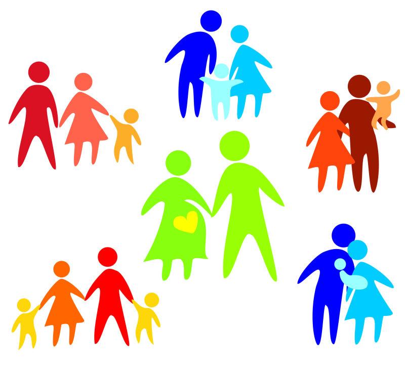 抽象矢量现代彩色幸福的家庭插图