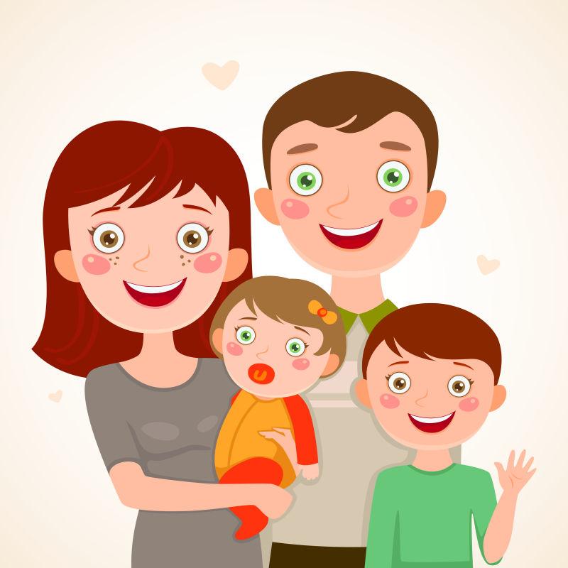 抽象矢量现代卡通幸福的全家福插图设计