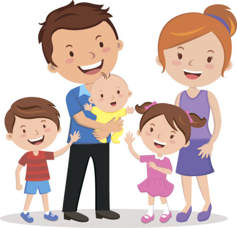 抽象矢量幸福快乐的五口之家插图设计