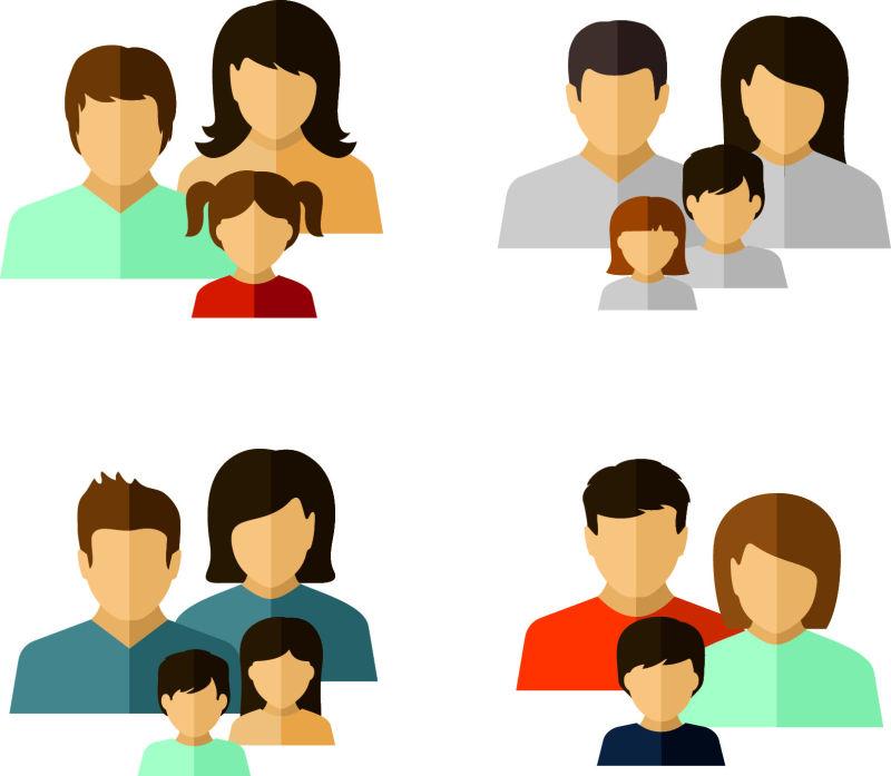 矢量抽象现代幸福的家庭平面插图设计