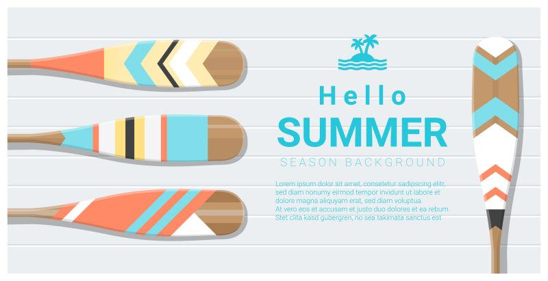 你好-夏季背景画独木舟桨-矢量-插图