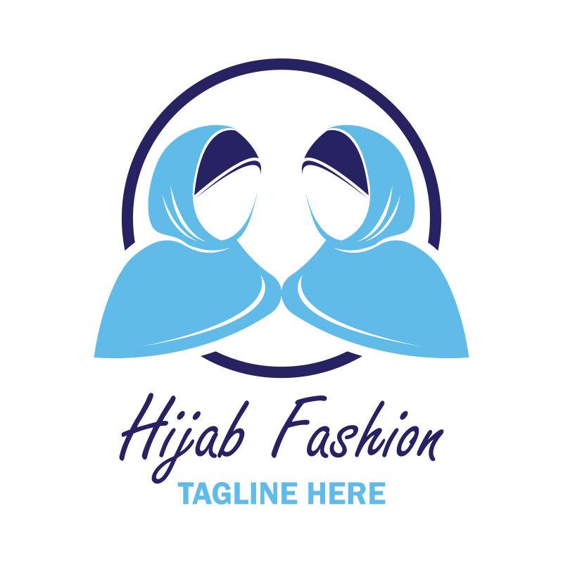 抽象矢量蓝色头巾女人标志设计