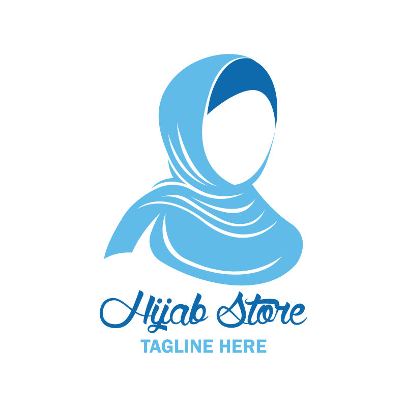 创意矢量蓝色头巾女人时尚标志设计