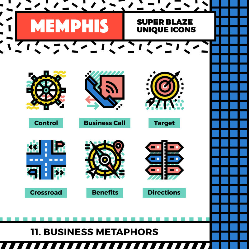 商务隐喻新孟菲斯图标