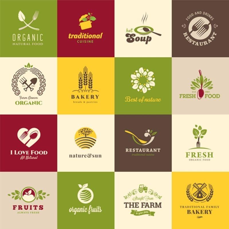 抽象矢量新鲜食物图标设计