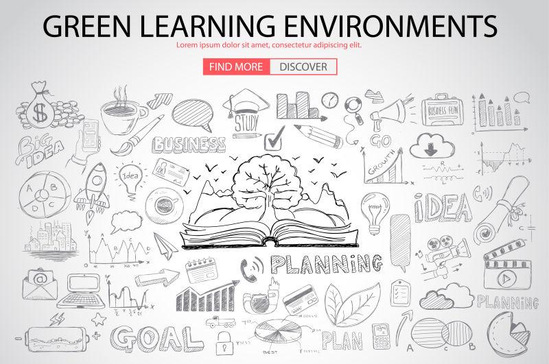 涂鸦设计风格的绿色学习环境