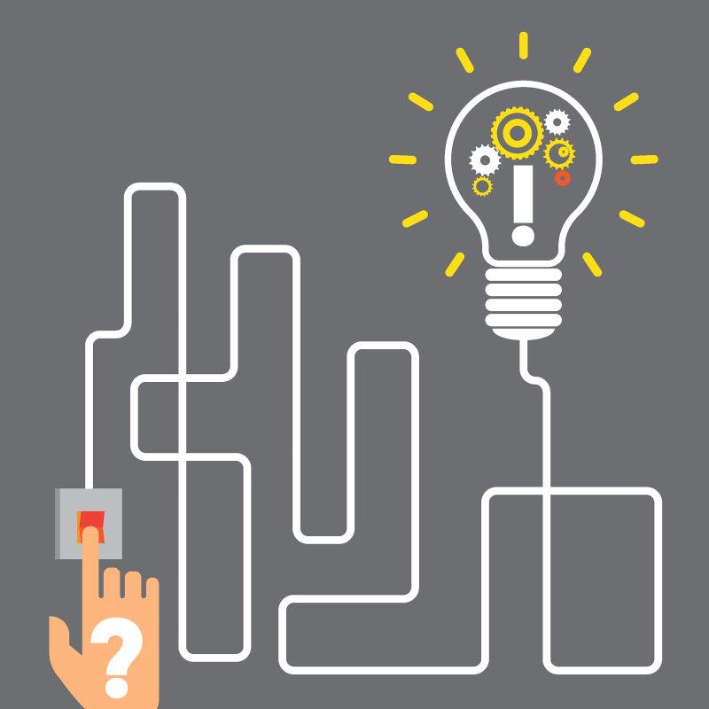 抽象矢量现代创新灯泡元素的插图设计