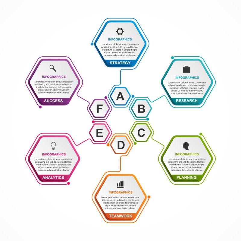 矢量抽象现代彩色六边形元素的信息图表设计