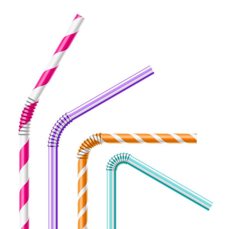 抽象矢量五彩的吸管设计