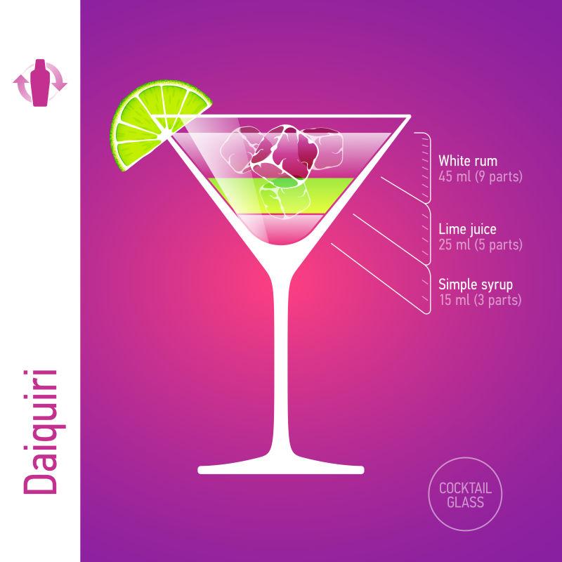 创意矢量得其利鸡尾酒的信息图表设计