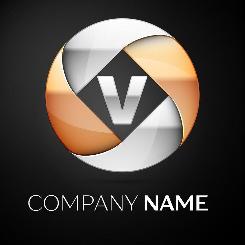 矢量金属球形字母v标志设计