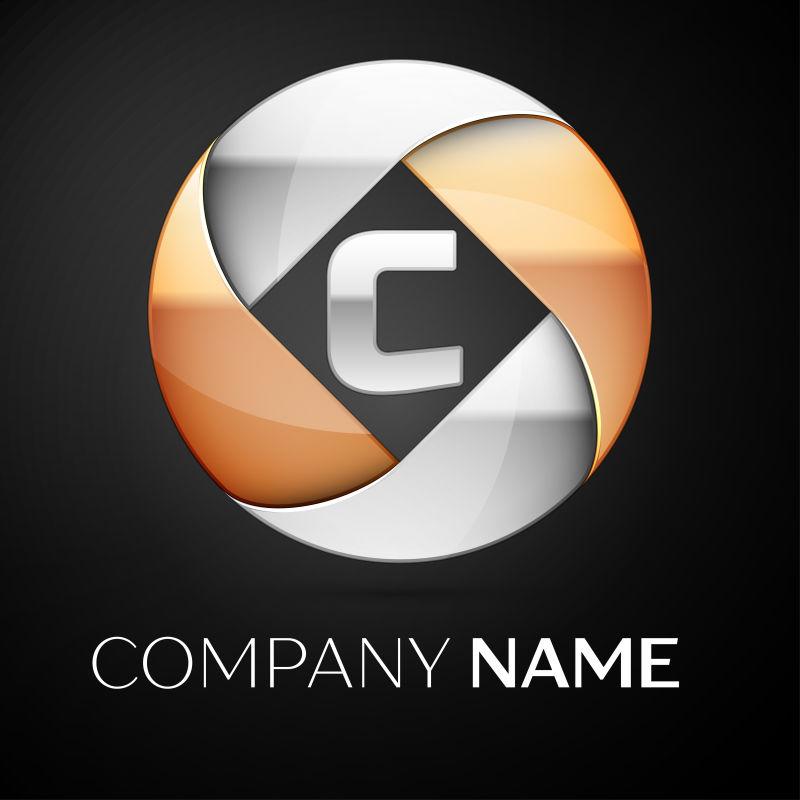 矢量金属球形字母c标志设计
