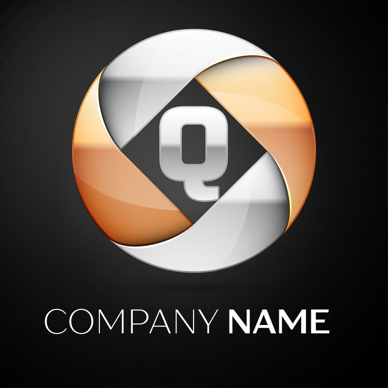 矢量金属球形字母q标志设计