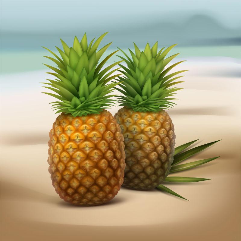 抽象矢量海边的菠萝设计