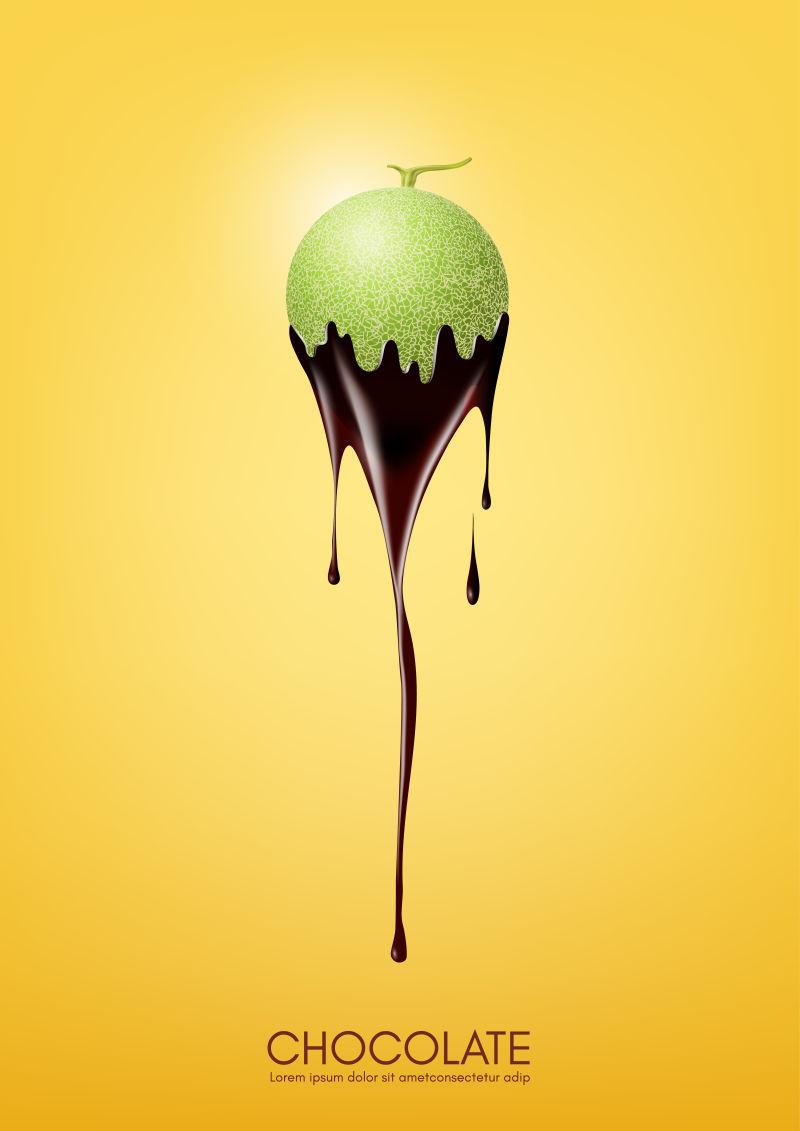 香瓜蘸黑巧克力、水果、火锅配方概念、透明、矢量