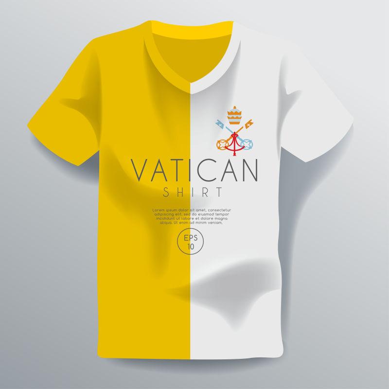 创意矢量双色尖领T恤设计