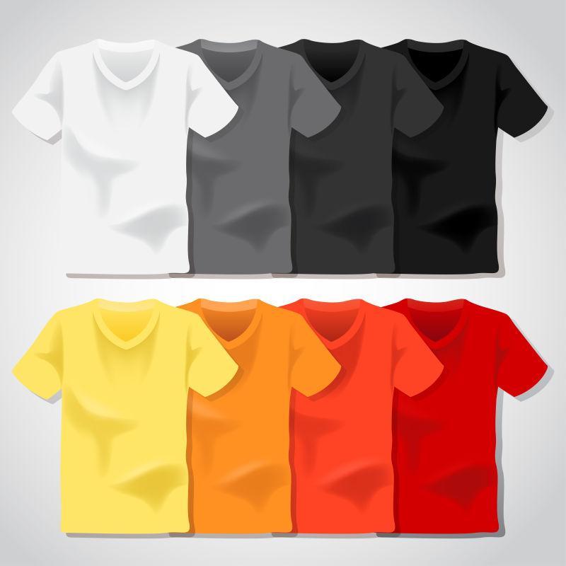 创意矢量彩色圆领T恤设计