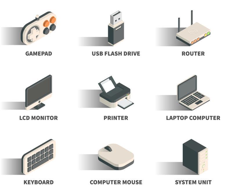 抽象矢量现代电器等距图标设计