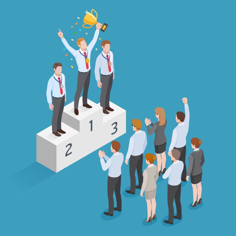 抽象矢量现代等距的企业赢家平面插图设计