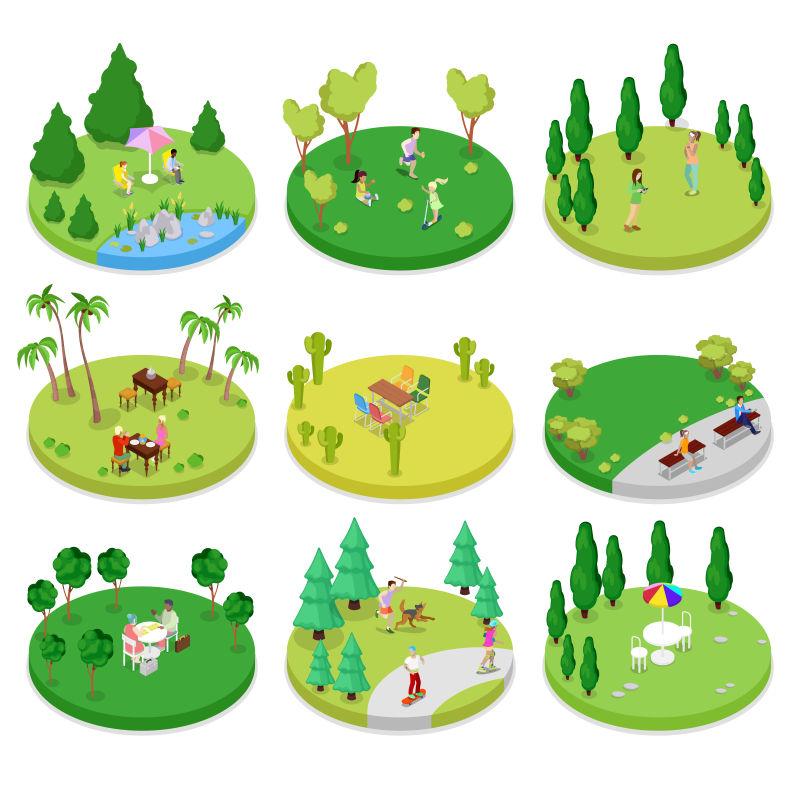 抽象矢量等距的户外森林插图设计