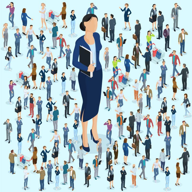 抽象矢量现代等距的女商人插图