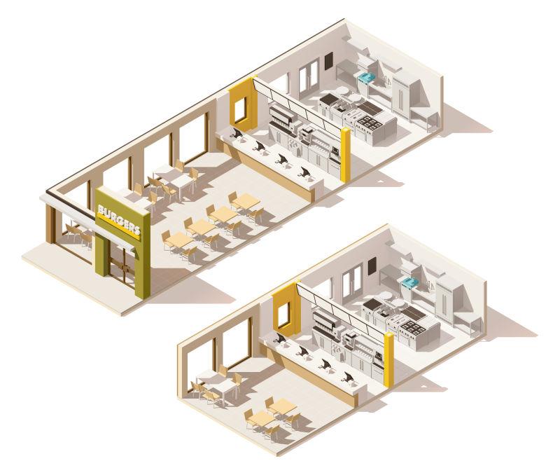 抽象矢量现代等距的快餐店插图设计