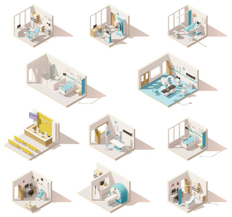 抽象矢量等距的医院病房设计插图
