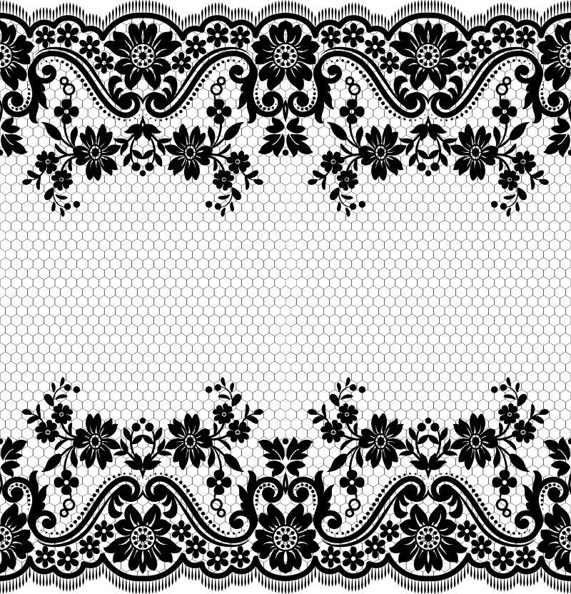 抽象矢量单色花纹元素边框