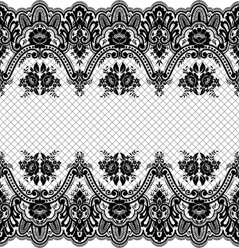 抽象矢量单色装饰花纹边框元素设计