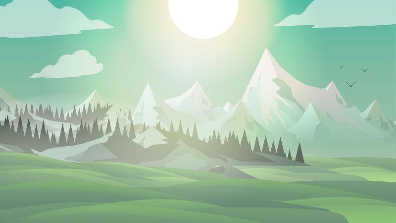 创意矢量山地草甸景观插图设计
