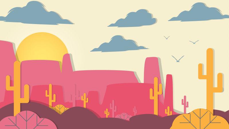 矢量剪纸风格的沙漠插图设计
