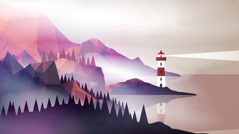 创意矢量现代海上灯塔设计插图