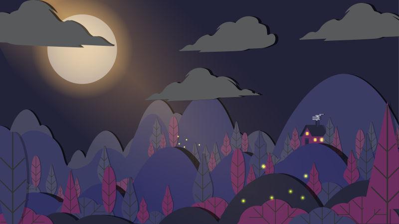 抽象矢量剪纸风格的夜晚风景插图