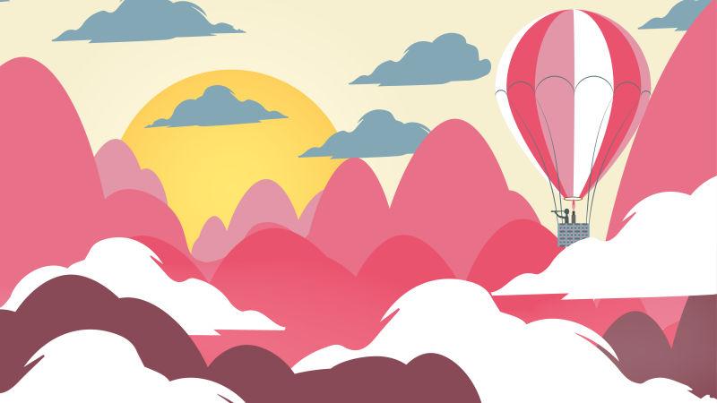 创意矢量剪纸风格的热气球景观插图
